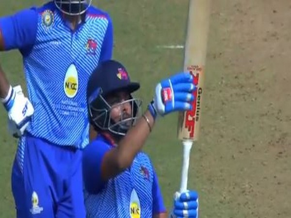 Opening batsman Prithvi Shaw celebrates after scoring half-century against Assam (Photo/ BCCI Domestic Twitter)