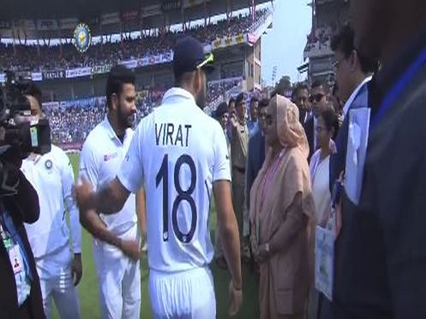 Sheikh Hasina meeting players before the match. (Photo/BCCI Twitter)