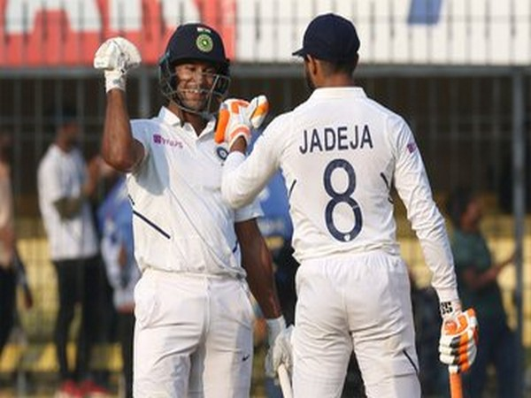 Mayank Agarwal and Ravindra Jadeja during their partnership. (Photo/BCCI Twitter)