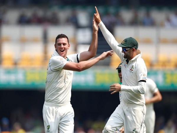 Josh Hazelwood celebrates after taking a wicket against Pakistan (Photo/ cricket.com.au Twitter)