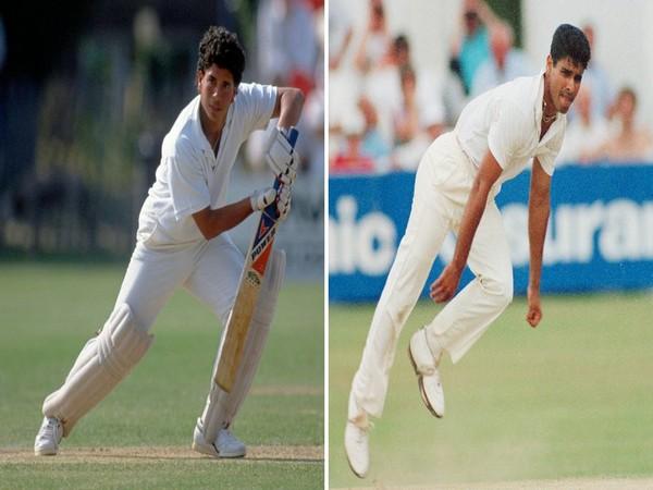 Sachin Tendulkar and Waqar Younis during their debut match (Photo/ ICC Twitter)