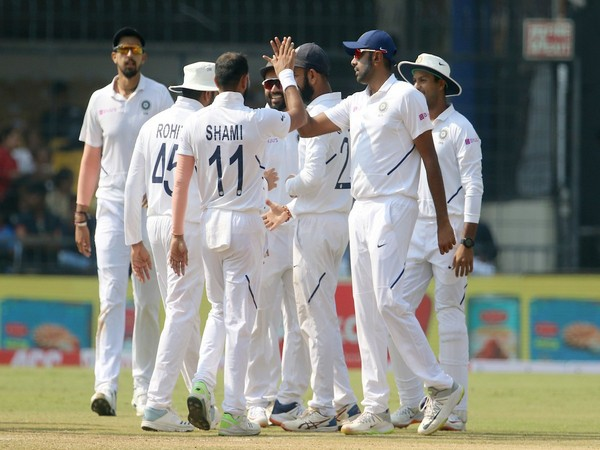 Indian cricket team celebrates after taking a wicket on day three against Bangladesh (Photo/ BCCI Twitter)