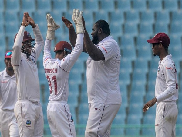 Windies players celebrating after scalping wicket. (Photo/ICC Twitter)