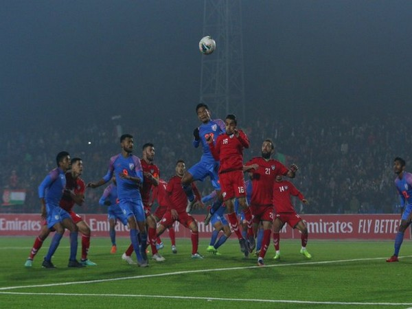 Indian players looking for a goal opportunity during the match. (Photo/Indian Football Team Twitter)