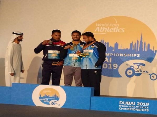 Men's Javelin Throw F46 winners at the World Para Athletics Championships. (Photo/SAIMediaTwitter)