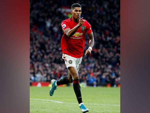 Manchester United's Marcus Rashford celebrates after scoring goal against Brighton.
