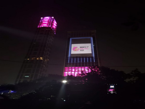 Tata Centre light up in pink colour.