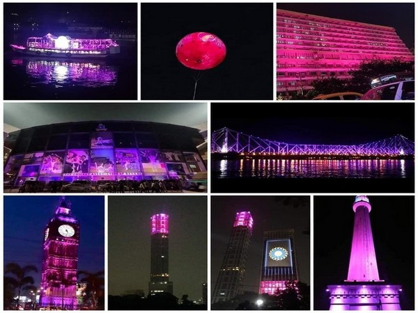 Various iconic spots turn pink. (Photo/Sourav Ganguly Twitter)