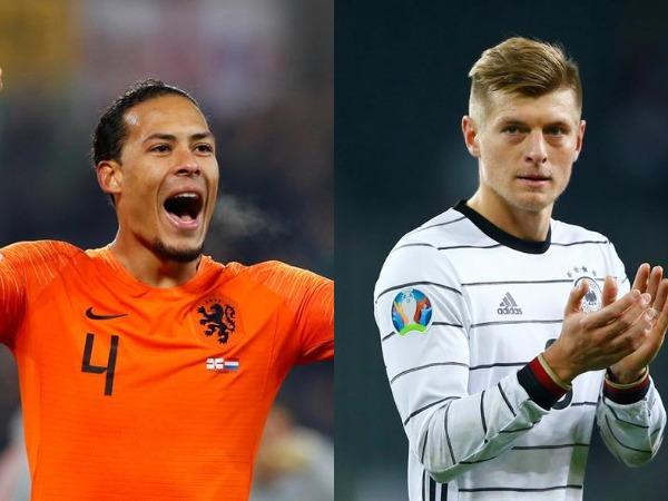 Netherlands' Virgil van Dijk (L) and Germany's Toni Kroos (R)