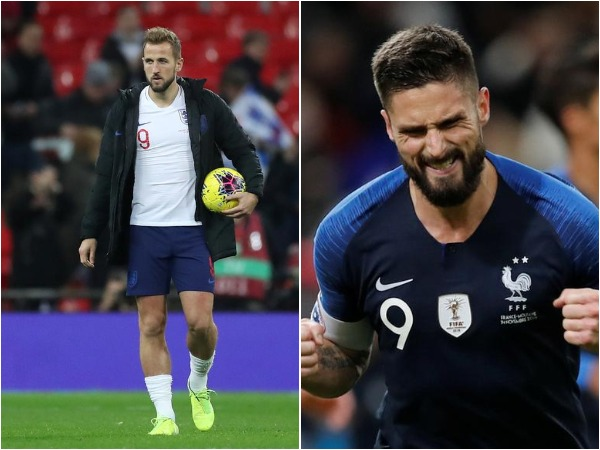 England's Harry Kane (L) and France's Olivier Giroud (R)