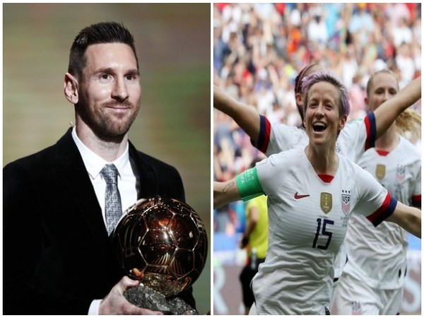 Barcelona striker Lionel Messi and USA's Megan Rapinoe.