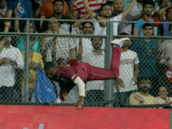 Evin Lewis during fielding. (Photo/Windies Cricket Twitter)