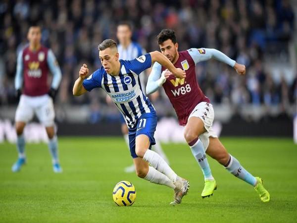 Brighton Leandro Trossard in action with Aston Villa's Trezeguet