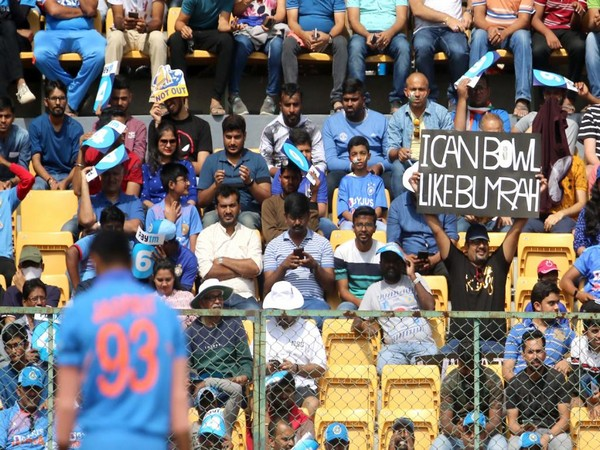 A fan says 'I can bowl like Bumrah' during third ODI at Bengaluru (Photo/ ICC Twitter)