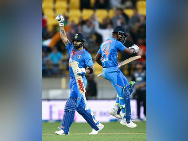 Virat Kohli and Sanju Samson celebrate after winning fourth T20I against Kiwis (Photo/ Virat Kohli Twitter)
