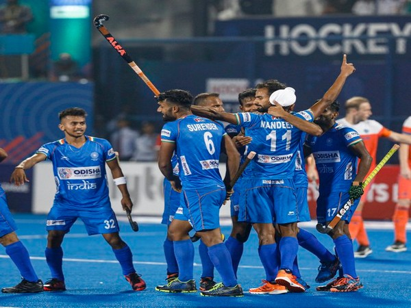 Indian side celebrating after defeating the Netherlands. (Photo/Hockey India Twitter)
