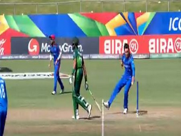 Afghanistan spinner Noor Ahmad ran out Pakistan opener Mohammad Huraira (Photo/ Cricket World Cup Twitter)