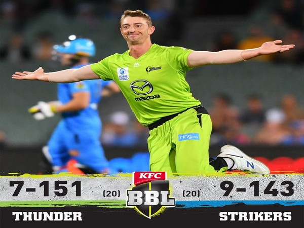 Sydney Thunder defeated Adelaide Strikers by eight runs (Image: BBL's Twitter)