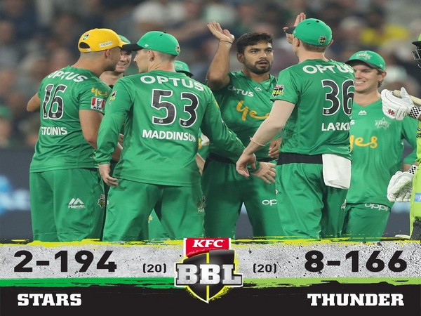 Melbourne Stars players celebrating after taking a wicket. (Photo/BBL Twitter)