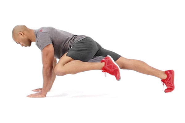 High plank knee to elbow