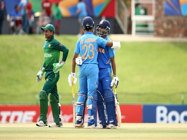 Yashasvi Jaiswal and Divyaansh Saxena in the middle during the run-chase. (Photo/Cricket World Cup Twitter)