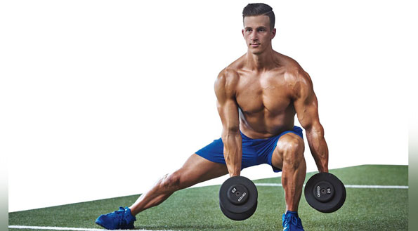 Dumbbell Side Lunge With Biceps Curl